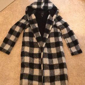 Black and white wool coat